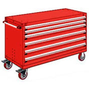 """Rousseau Metal 6 Drawer Heavy-Duty Mobile Modular Drawer Cabinet - 60""""Wx27""""Dx37-1/2""""H Red"""