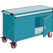 """Rousseau Metal 1 Drawer Heavy-Duty Mobile Modular Drawer Cabinet - 60""""Wx27""""Dx37-1/2""""H Everest Blue"""