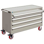 """Rousseau Metal 4 Drawer Heavy-Duty Mobile Modular Drawer Cabinet - 60""""Wx27""""Dx37-1/2""""H Light Gray"""