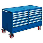"""Rousseau 12 Drawer Heavy-Duty Double Mobile Modular Drawer Cabinet - 48""""x27""""x37-1/2"""" Avalanche Blue"""