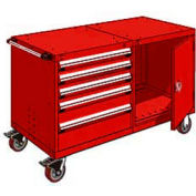 """Rousseau 5 Drawer Heavy-Duty Double Mobile Modular Drawer Cabinet - 48""""Wx27""""Dx37-1/2""""H Red"""