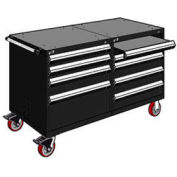 """Rousseau 8 Drawer Heavy-Duty Double Mobile Modular Drawer Cabinet - 48""""Wx27""""Dx37-1/2""""H Black"""