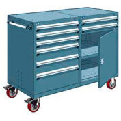 """Rousseau 8 Drawer Heavy-Duty Double Mobile Modular Drawer Cabinet - 48""""Wx27""""Dx45-1/2""""H Everest Blue"""