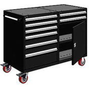 """Rousseau 8 Drawer Heavy-Duty Double Mobile Modular Drawer Cabinet - 48""""Wx27""""Dx45-1/2""""H Black"""
