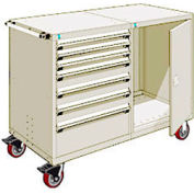 "Rousseau 7 Drawer Heavy-Duty Double Mobile Modular Drawer Cabinet - 48""Wx27""Dx45-1/2""H Beige"