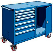 "Rousseau 7 Drawer Heavy-Duty Double Mobile Modular Drawer Cabinet -48""Wx27""Dx45-1/2""H Avalanche Blue"