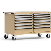 "Rousseau 12 Drawer Heavy-Duty Double Mobile Modular Drawer Cabinet - 60""Wx27""Dx37-1/2""H Beige"