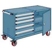 """Rousseau 5 Drawer Heavy-Duty Double Mobile Modular Drawer Cabinet - 60""""Wx27""""Dx37-1/2""""H Everest Blue"""
