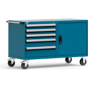 "Rousseau 5 Drawer Heavy-Duty Double Mobile Modular Drawer Cabinet - 60""Wx27""Dx37-1/2""H Everest Blue"
