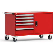"""Rousseau 5 Drawer Heavy-Duty Double Mobile Modular Drawer Cabinet - 60""""Wx27""""Dx37-1/2""""H Red"""