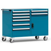 """Rousseau 8 Drawer Heavy-Duty Double Mobile Modular Drawer Cabinet - 60""""Wx27""""Dx45-1/2""""H Everest Blue"""