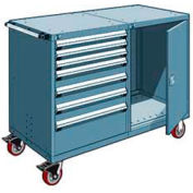 "Rousseau 7 Drawer Heavy-Duty Double Mobile Modular Drawer Cabinet - 60""Wx27""Dx45-1/2""H Everest Blue"