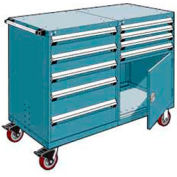 "Rousseau 9 Drawer Heavy-Duty Double Mobile Modular Drawer Cabinet - 60""Wx27""Dx45-1/2""H Everest Blue"