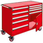 """Rousseau 9 Drawer Heavy-Duty Double Mobile Modular Drawer Cabinet - 60""""Wx27""""Dx45-1/2""""H Red"""
