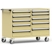"Rousseau 10 Drawer Heavy-Duty Double Mobile Modular Drawer Cabinet - 60""Wx27""Dx45-1/2""H Beige"