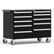 """Rousseau 10 Drawer Heavy-Duty Double Mobile Modular Drawer Cabinet - 60""""Wx27""""Dx45-1/2""""H Black"""