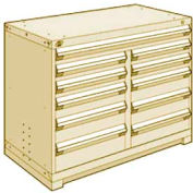 "Rousseau Metal 11 Drawer Counter High 48""W Multi-Drawer Cabinet - Beige"