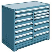 """Rousseau Metal 13 Drawer Counter High 48""""W Multi-Drawer Cabinet - Everest Blue"""