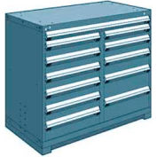 """Rousseau Metal 12 Drawer Counter High 48""""W Multi-Drawer Cabinet - Everest Blue"""
