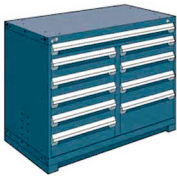 "Rousseau Metal 10 Drawer Counter High 48""W Multi-Drawer Cabinet - Everest Blue"