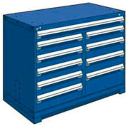 """Rousseau Metal 10 Drawer Counter High 48""""W Multi-Drawer Cabinet - Avalanche Blue"""
