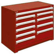 "Rousseau Metal 10 Drawer Counter High 48""W Multi-Drawer Cabinet - Red"