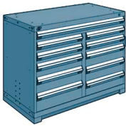 """Rousseau Metal 11 Drawer Counter High 48""""W Multi-Drawer Cabinet - Everest Blue"""