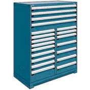 """Rousseau Metal 20 Drawer Full Height 48""""W Multi-Drawer Cabinet - Everest Blue"""