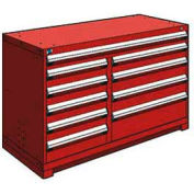 """Rousseau Metal 10 Drawer Counter High 60""""W Multi-Drawer Cabinet - Red"""