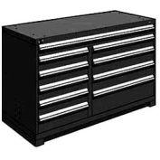 "Rousseau Metal 10 Drawer Counter High 60""W Multi-Drawer Cabinet - Black"