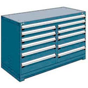 "Rousseau Metal 11 Drawer Counter High 60""W Multi-Drawer Cabinet - Everest Blue"