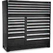 "Rousseau Metal 19 Drawer Full Height 60""W Multi-Drawer Cabinet - Black"