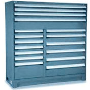 """Rousseau Metal 17 Drawer Full Height 60""""W Multi-Drawer Cabinet - Everest Blue"""