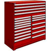 """Rousseau Metal 20 Drawer Full Height 60""""W Multi-Drawer Cabinet - Red"""