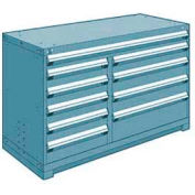 """Rousseau Metal 10 Drawer Counter High 60""""W Multi-Drawer Cabinet - Everest Blue"""