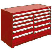"Rousseau Metal 11 Drawer Counter High 60""W Multi-Drawer Cabinet - Red"