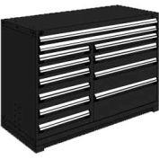 "Rousseau Metal 12 Drawer Counter High 60""W Multi-Drawer Cabinet - Black"