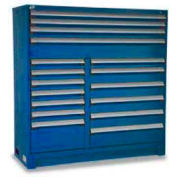 "Rousseau Metal 17 Drawer Full Height 60""W Multi-Drawer Cabinet - Avalanche Blue"