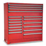 "Rousseau Metal 17 Drawer Full Height 60""W Multi-Drawer Cabinet - Red"
