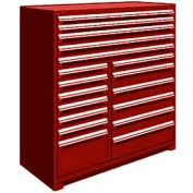 """Rousseau Metal 18 Drawer Full Height 60""""W Multi-Drawer Cabinet - Red"""