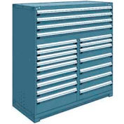 "Rousseau Metal 20 Drawer Full Height 60""W Multi-Drawer Cabinet - Everest Blue"