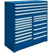 """Rousseau Metal 20 Drawer Full Height 60""""W Multi-Drawer Cabinet - Avalanche Blue"""