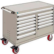 "Rousseau Metal 12 Drawer Mobile Multi-Drawer Cabinet - 48""Wx24""Dx37-1/2""H Light Gray"