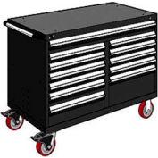 "Rousseau Metal 12 Drawer Mobile Multi-Drawer Cabinet - 48""Wx24""Dx37-1/2""H Black"