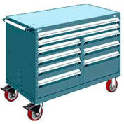 "Rousseau Metal 9 Drawer Mobile Multi-Drawer Cabinet - 48""Wx24""Dx37-1/2""H Everest Blue"
