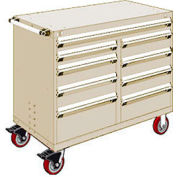 """Rousseau Metal 9 Drawer Mobile Multi-Drawer Cabinet - 48""""Wx24""""Dx41-1/2""""H Beige"""