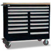 "Rousseau Metal 14 Drawer Mobile Multi-Drawer Cabinet - 48""Wx24""Dx45-1/2""H Black"