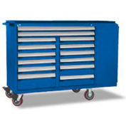"""Rousseau Metal 14 Drawer Mobile Multi-Drawer Cabinet - 62""""Wx24""""Dx45-1/2""""H Avalanche Blue"""