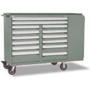 "Rousseau Metal 14 Drawer Mobile Multi-Drawer Cabinet - 62""Wx24""Dx45-1/2""H Light Gray"