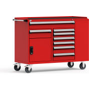"""Rousseau Metal 14 Drawer Mobile Multi-Drawer Cabinet - 62""""Wx24""""Dx45-1/2""""H Red"""